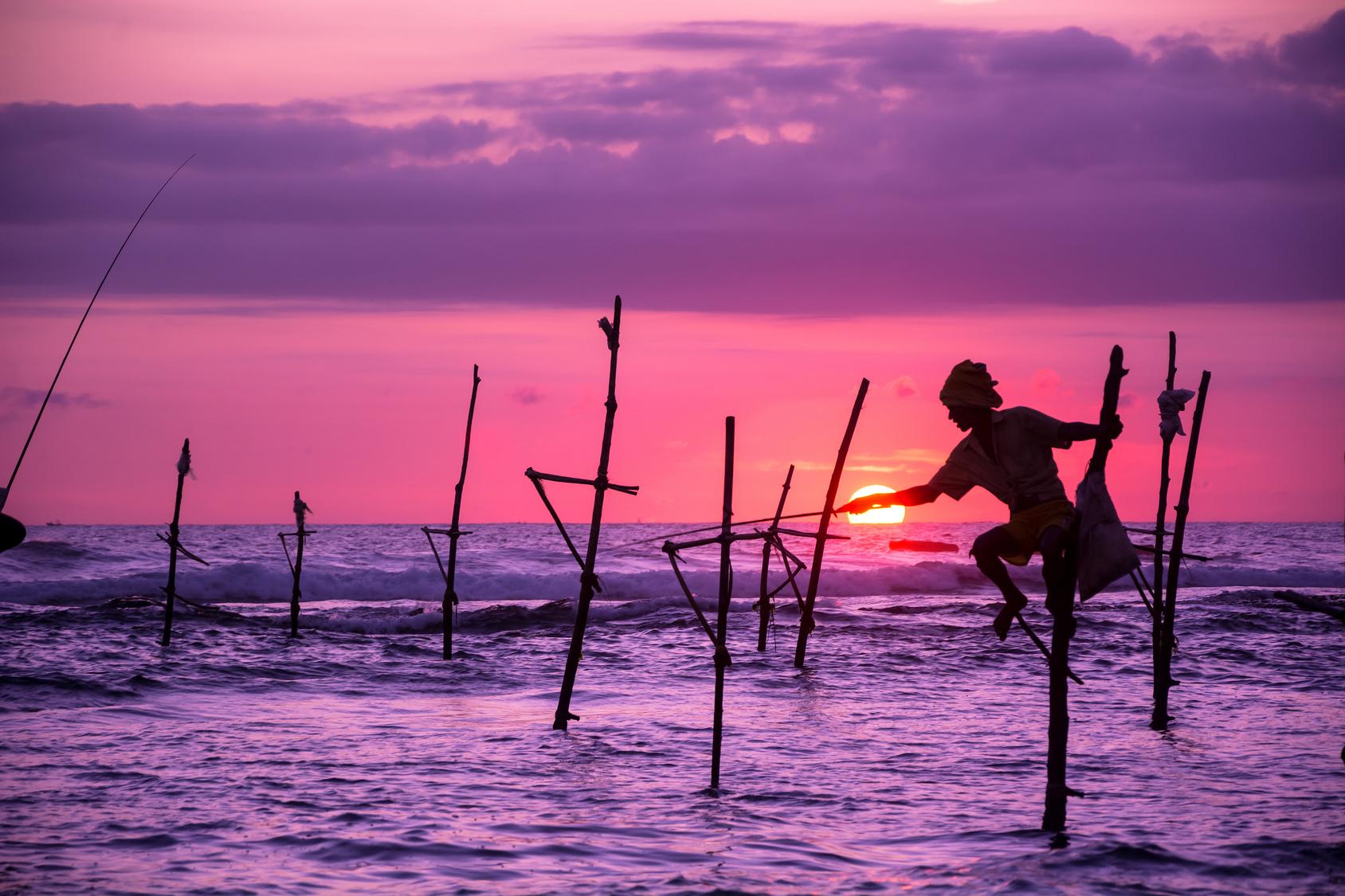 Traditional  fisherman in Sri Lanka
