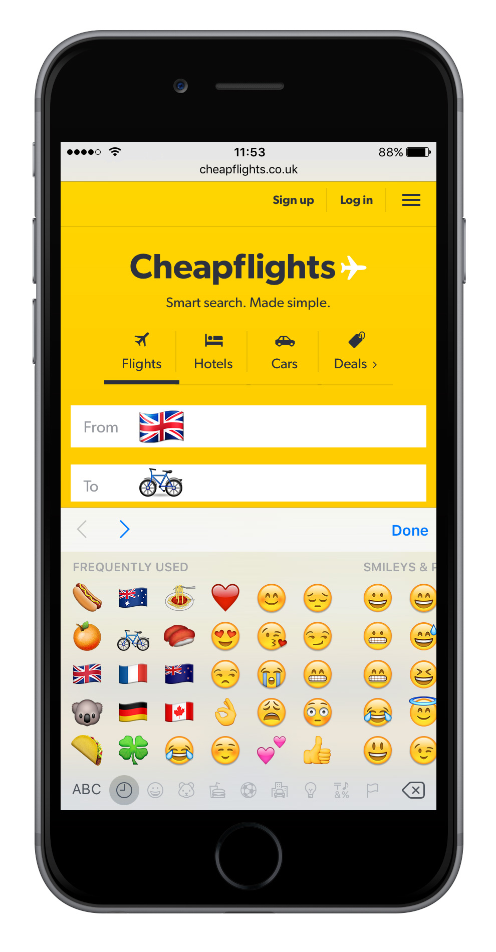 Cheapflights flight search with emojis