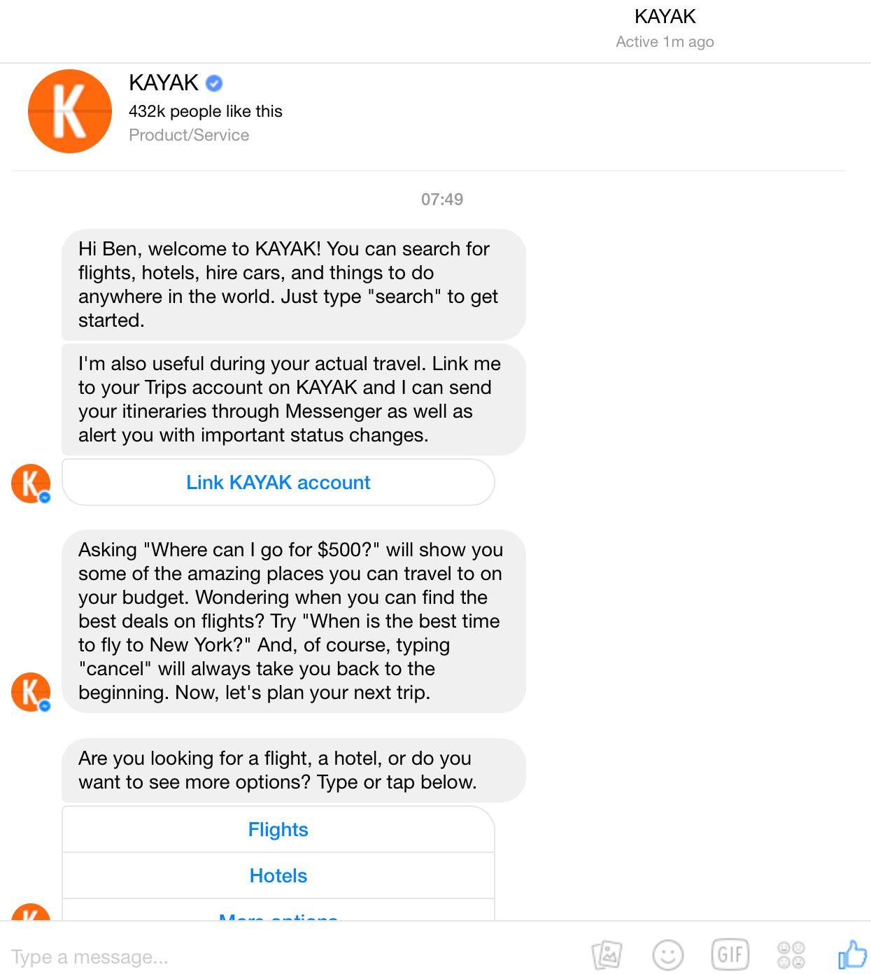 Kayak bot conversation 1