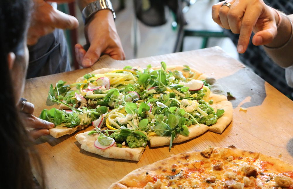 Heist Bank smashed peas pizza