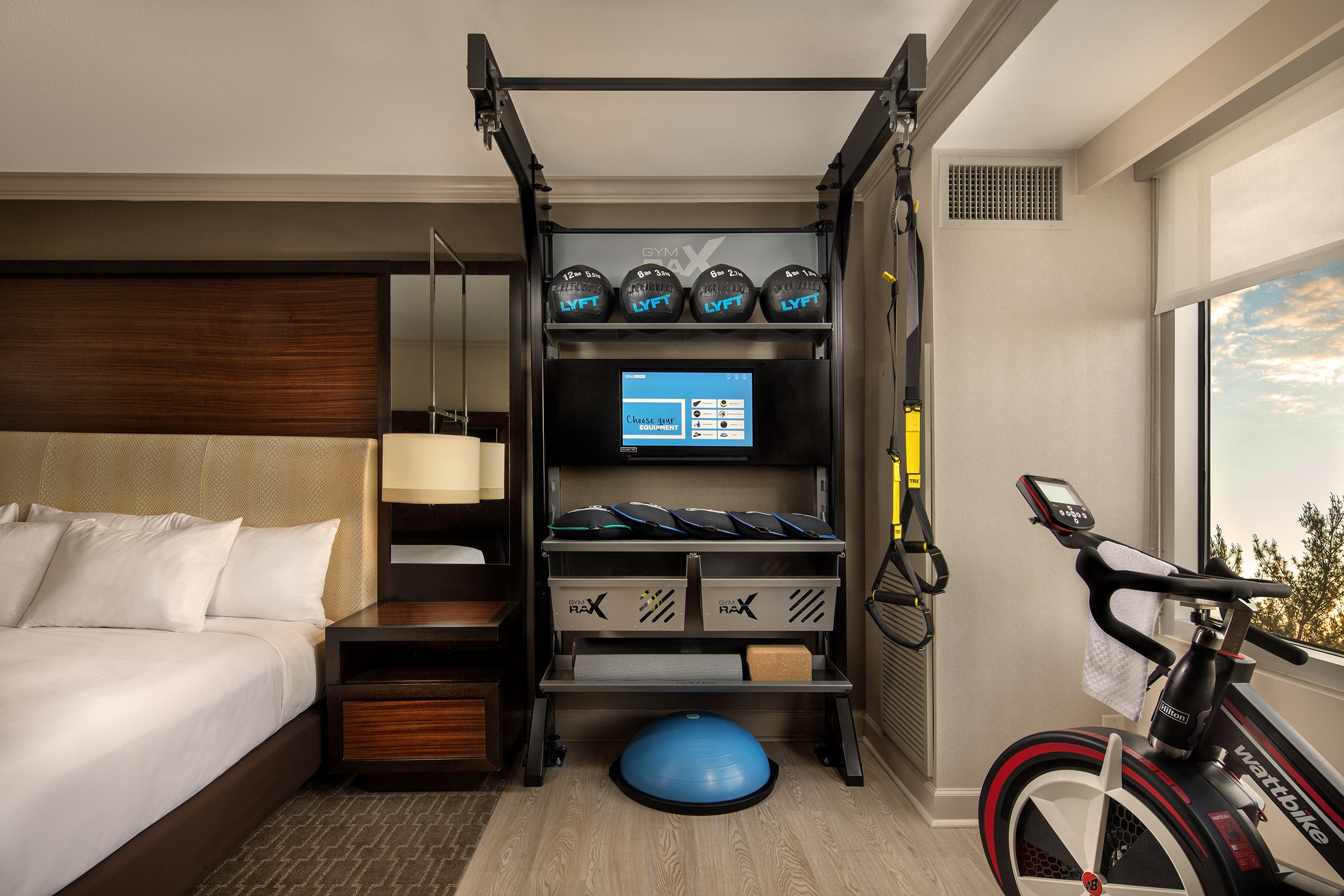 Hilton Five Feet to Fitness hotel room gym