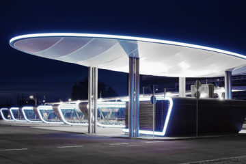 Futuristic station entrance