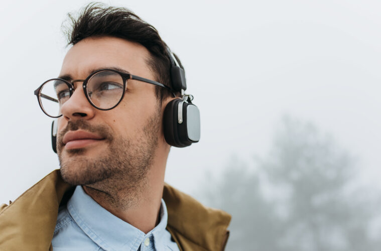 Man listening to podcast