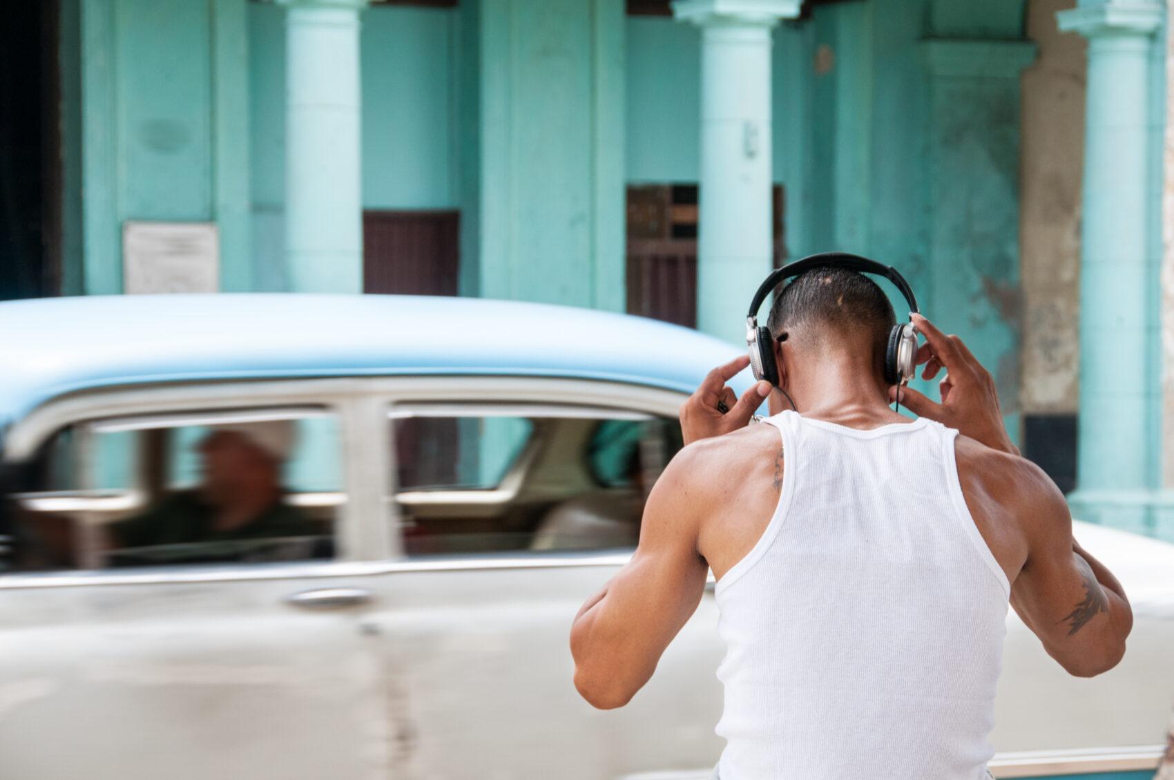 Man listening to music, Cuba