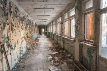 Abandoned corridor in Pripyat school