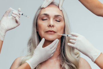 Anti wrinkle aesthetic treatment on face