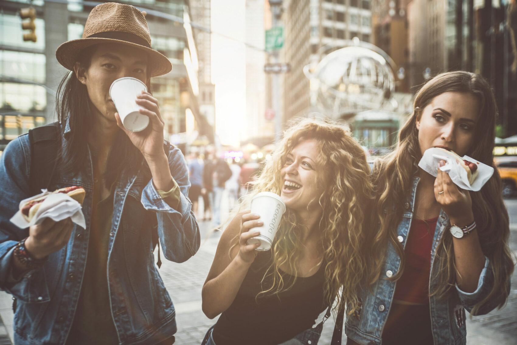 Group of Gen Z friends having fun in New York