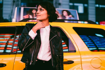 Young woman New York taxi