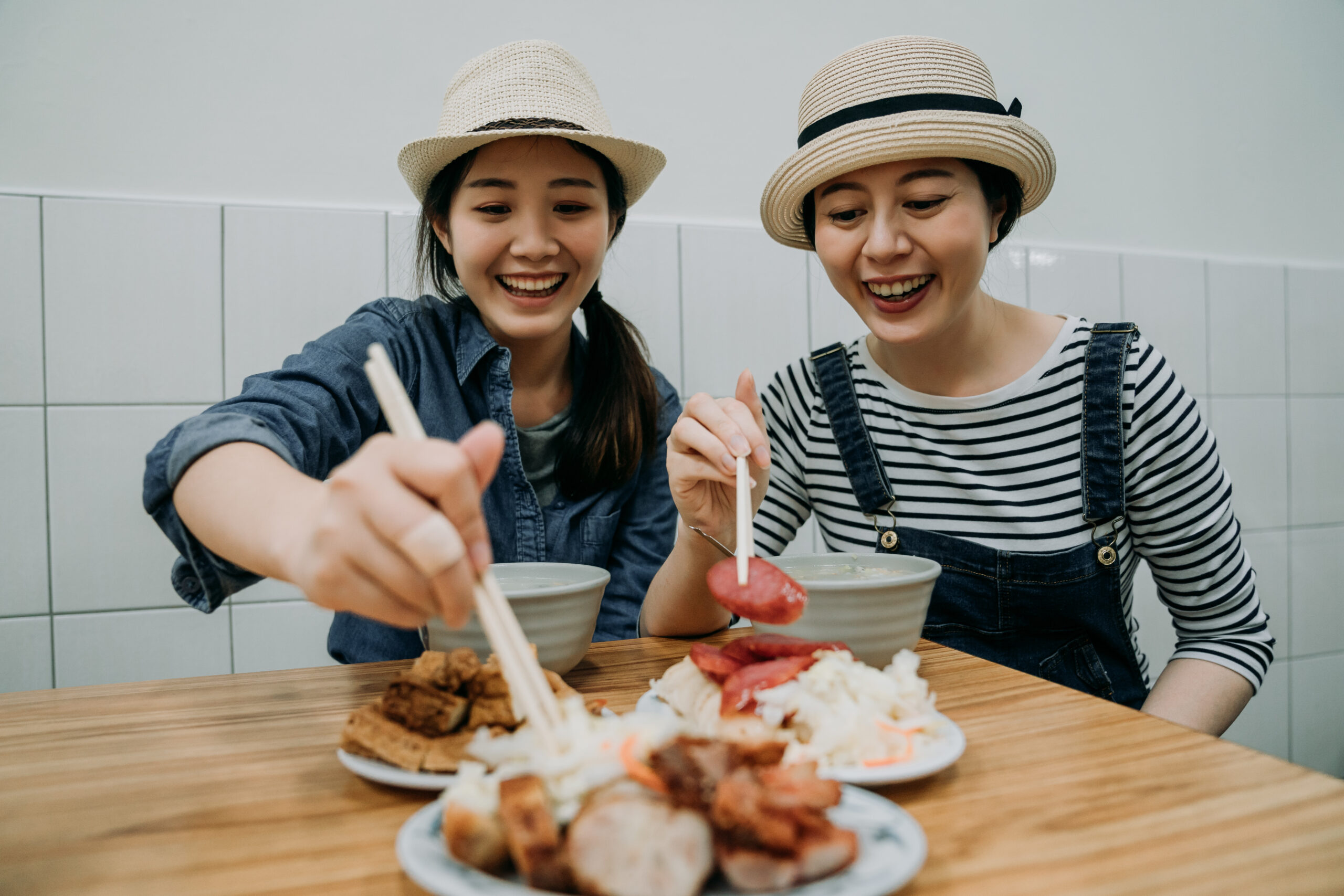 Women eating street food