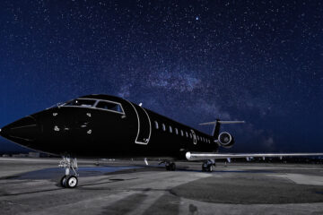 Private jet at night