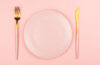 Pink plate and cutlery