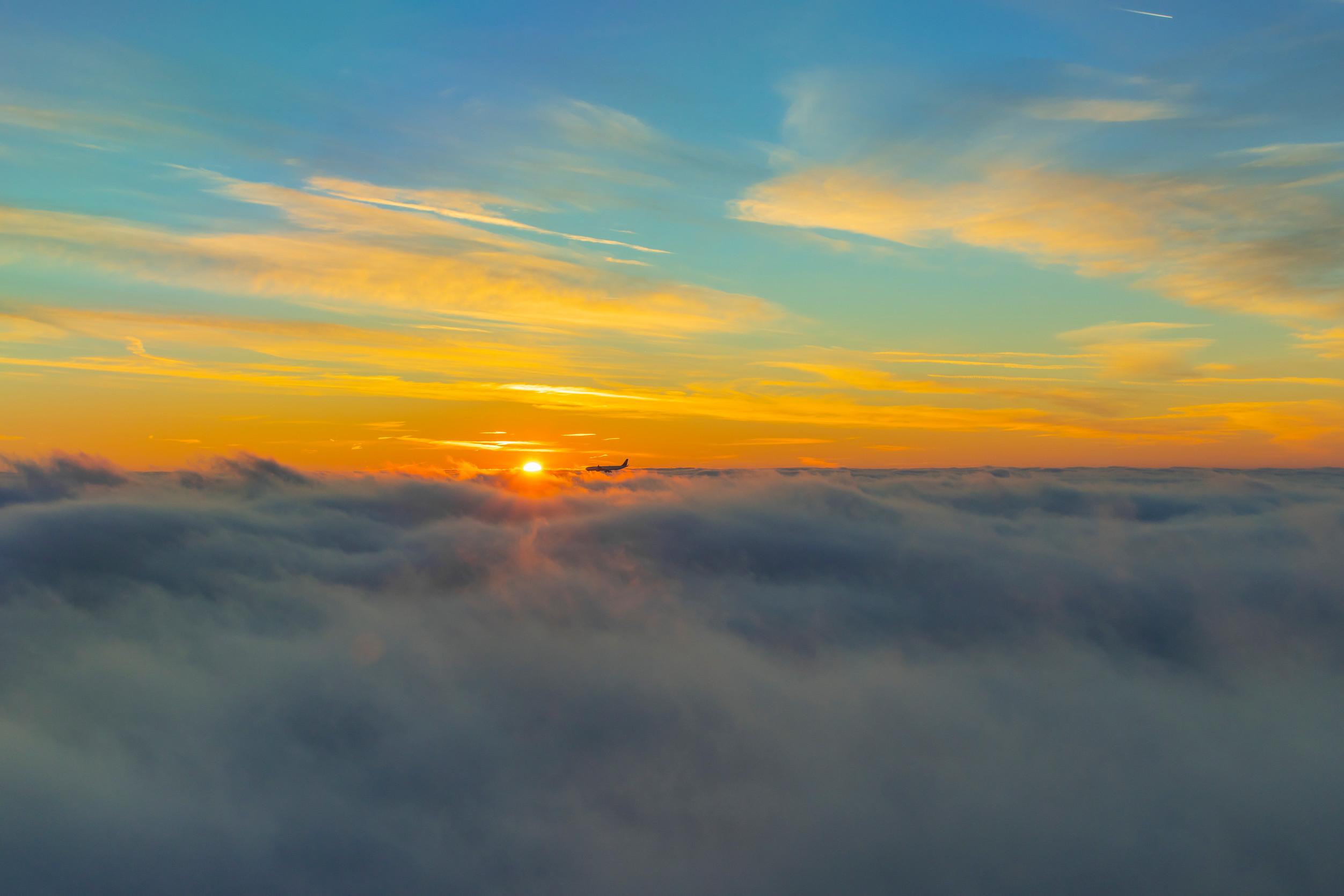 Lufthansa solar fuel plane at sunset