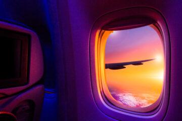 Aircraft window sunset