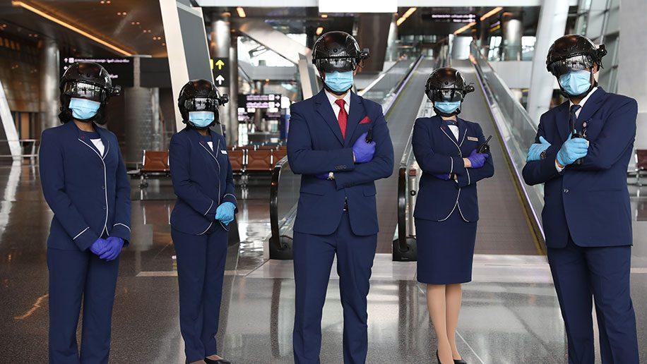 Smart screening helmets, Doha Hamad International airport
