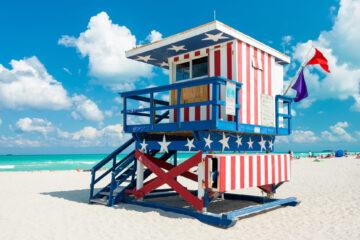 Lifeguard hut in South Beach, Miami