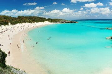 Pink beach in Bermuda islands