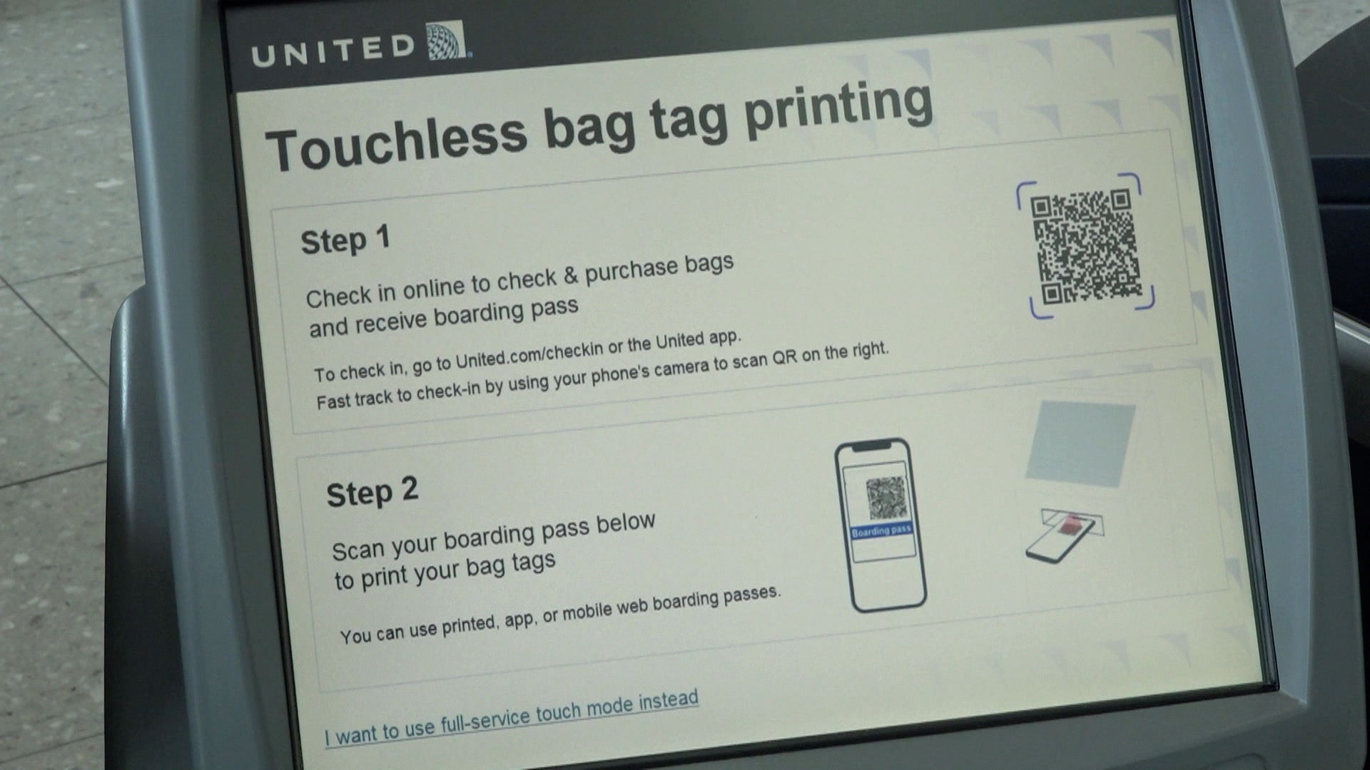 United Airlines touchless check-in London Heathrow