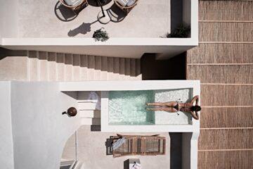 Aerial outdoor shot Istoria hotel Santorini