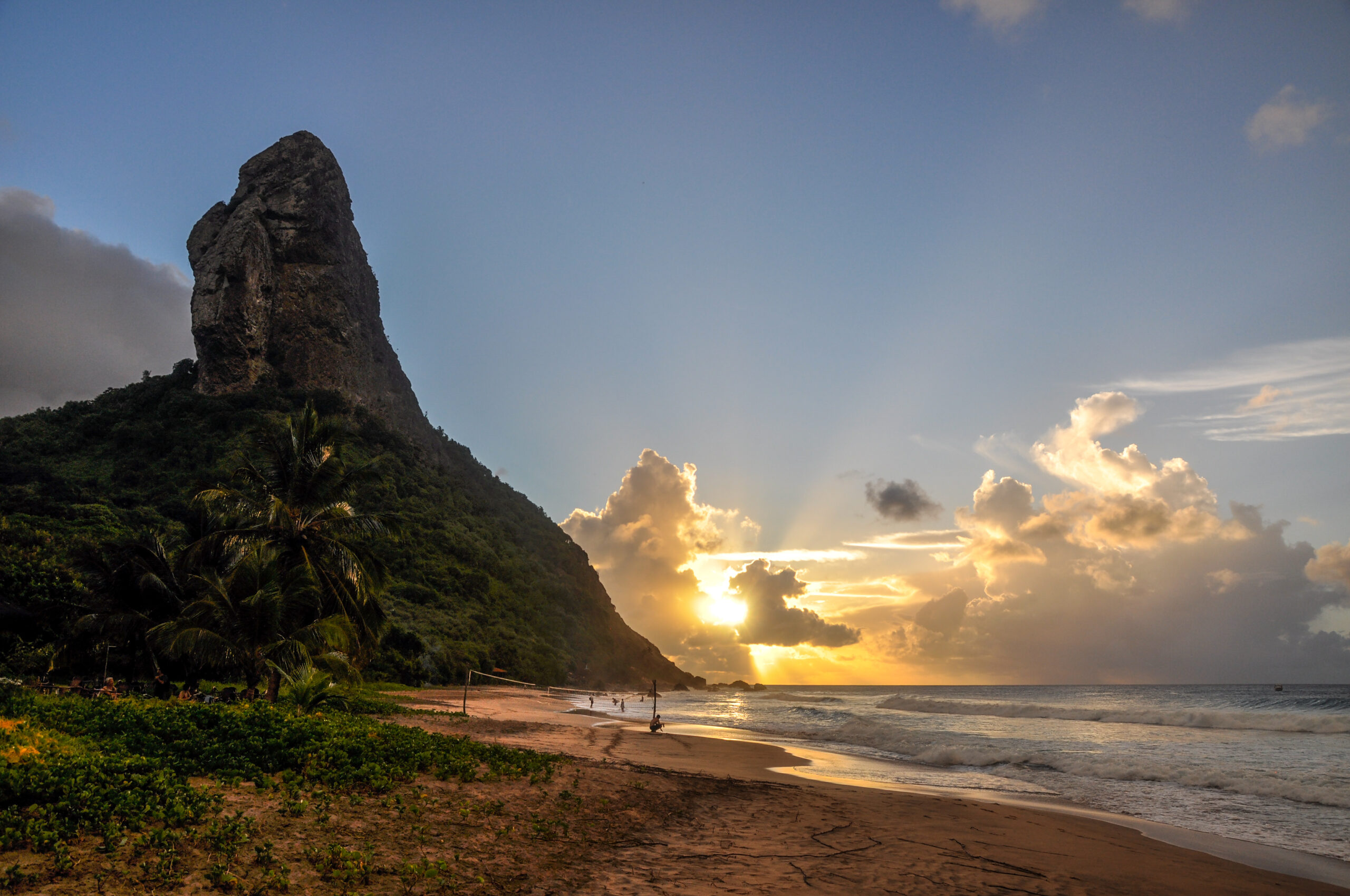 Sand beach and Morro do Pico at sunset, Fernando de Noronha island, Pernambuco (Brazil)