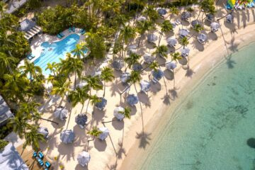 Aerial shot of Curtain Bluff, Antigua
