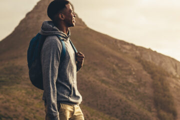 Black man hiking