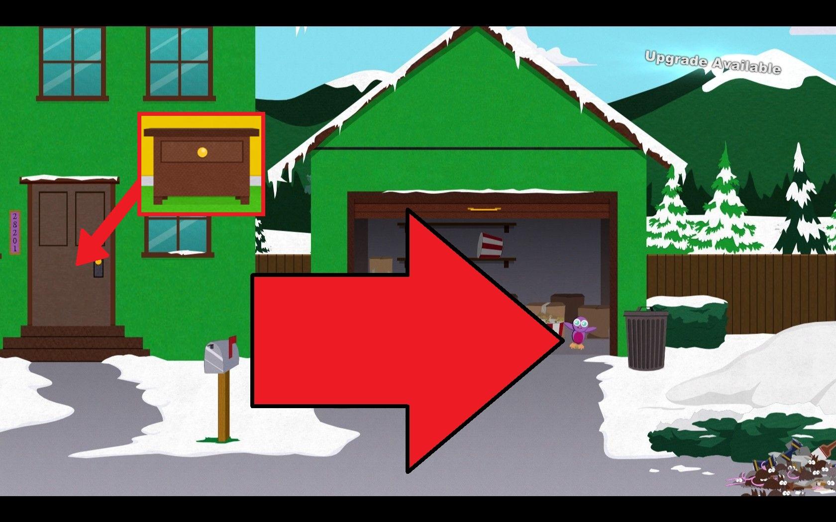Pengin Cartman's Garage in South Park Stick Of Truth