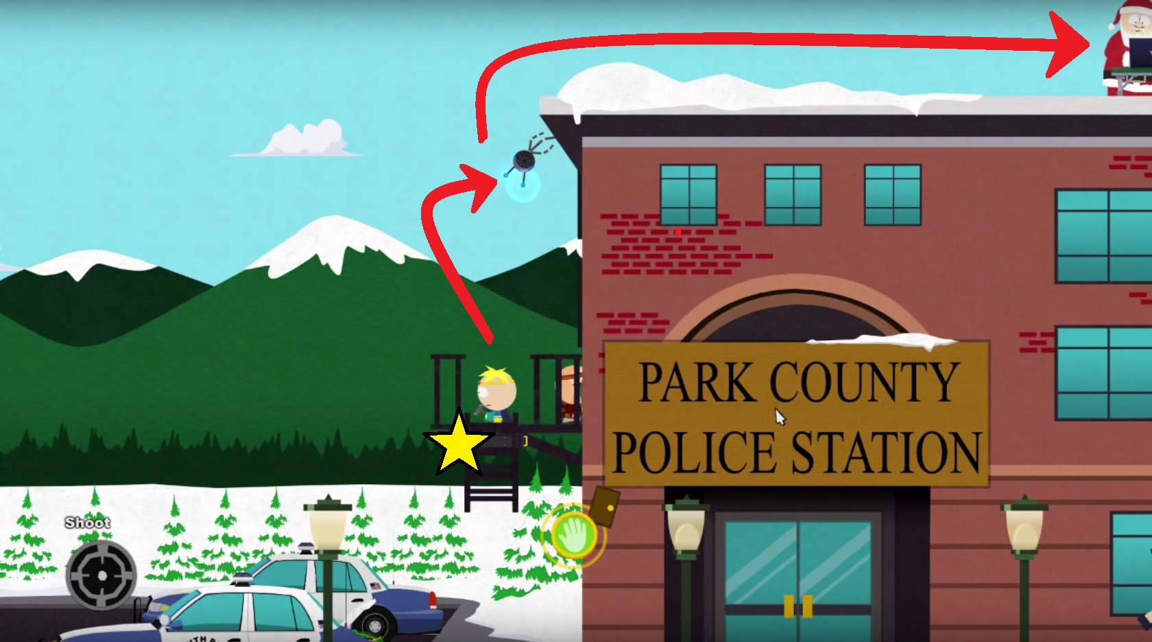 Find Santa Claus on the South Park police roof