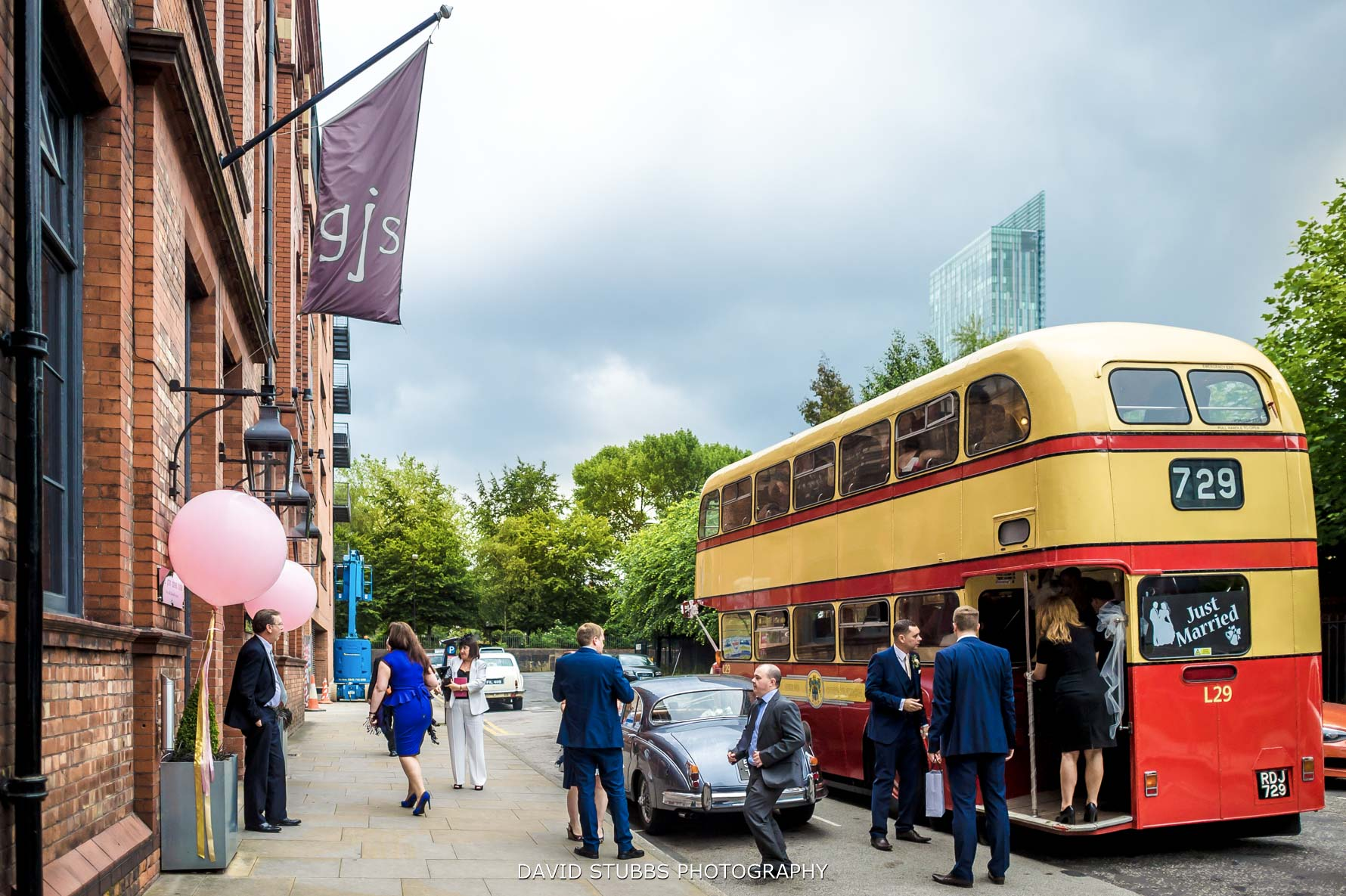 wedding bus arriving with the guests