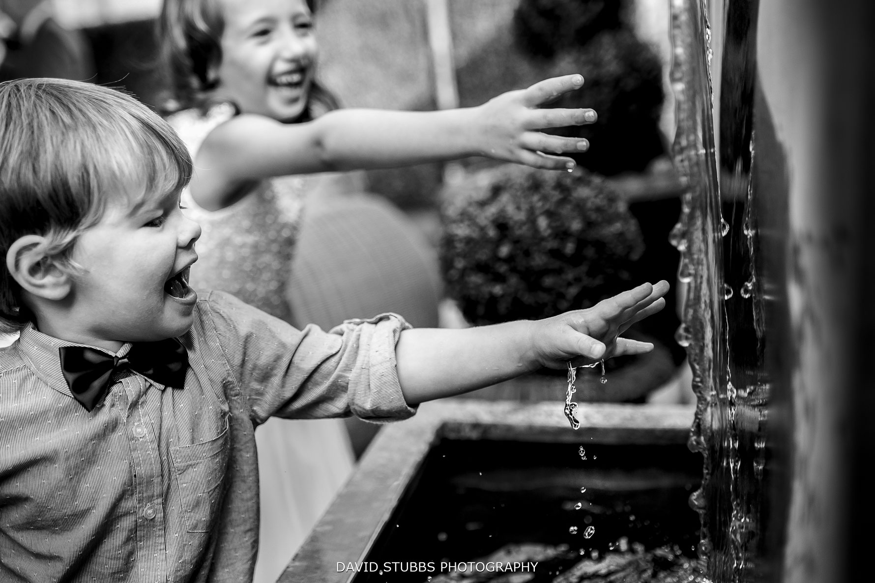playing with the water fountain feature