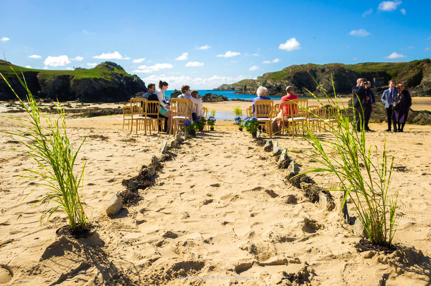 the ceremony location set-up on the anglesey beach