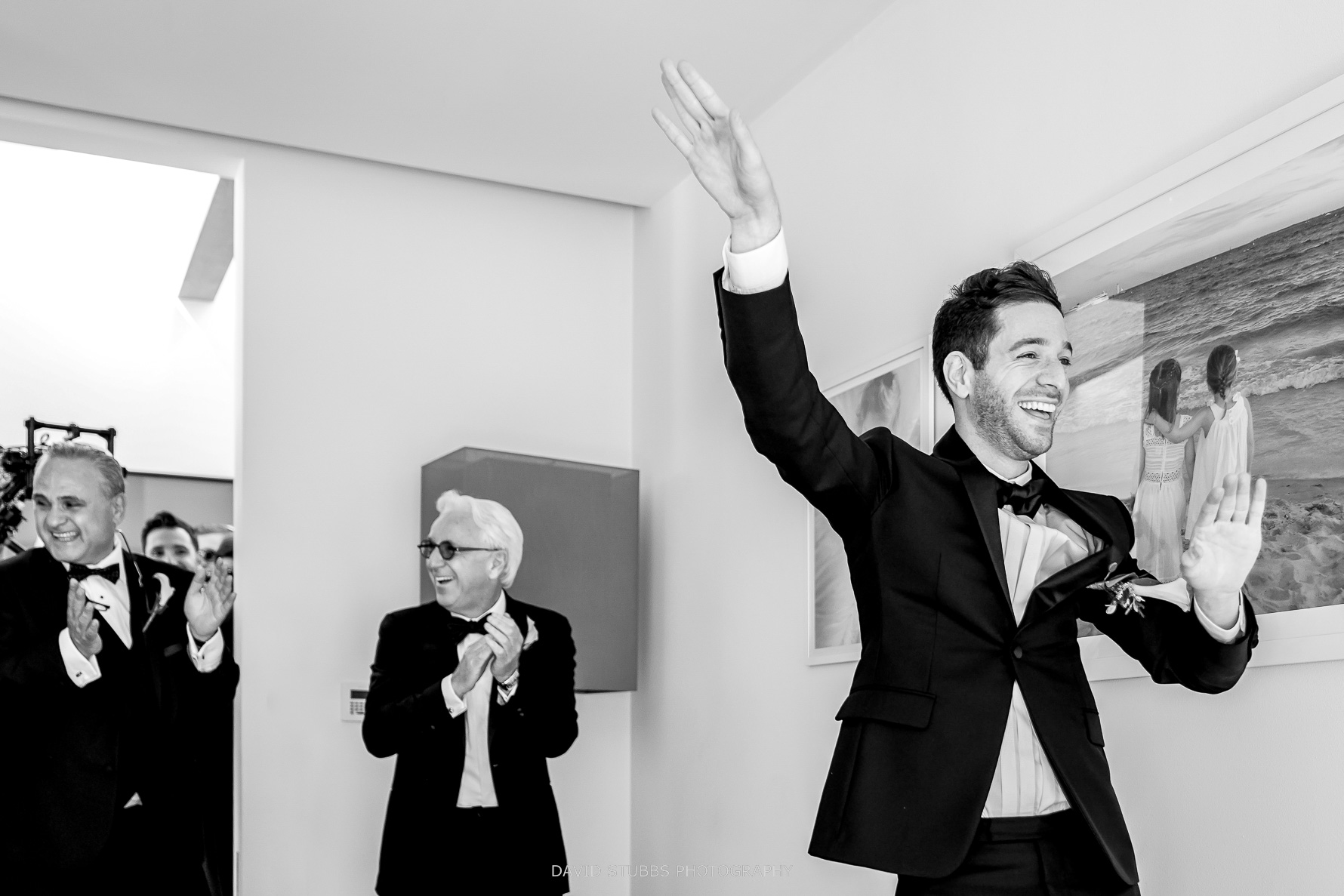 groom arrives to see his bride for the first time