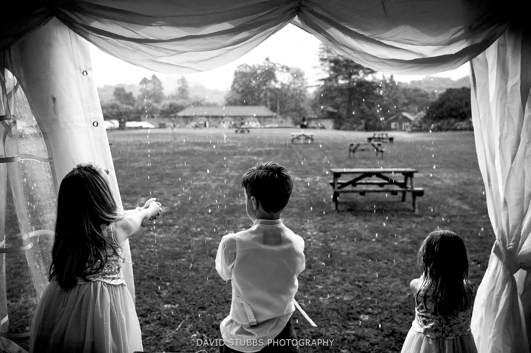 rain in the lakes for a wedding
