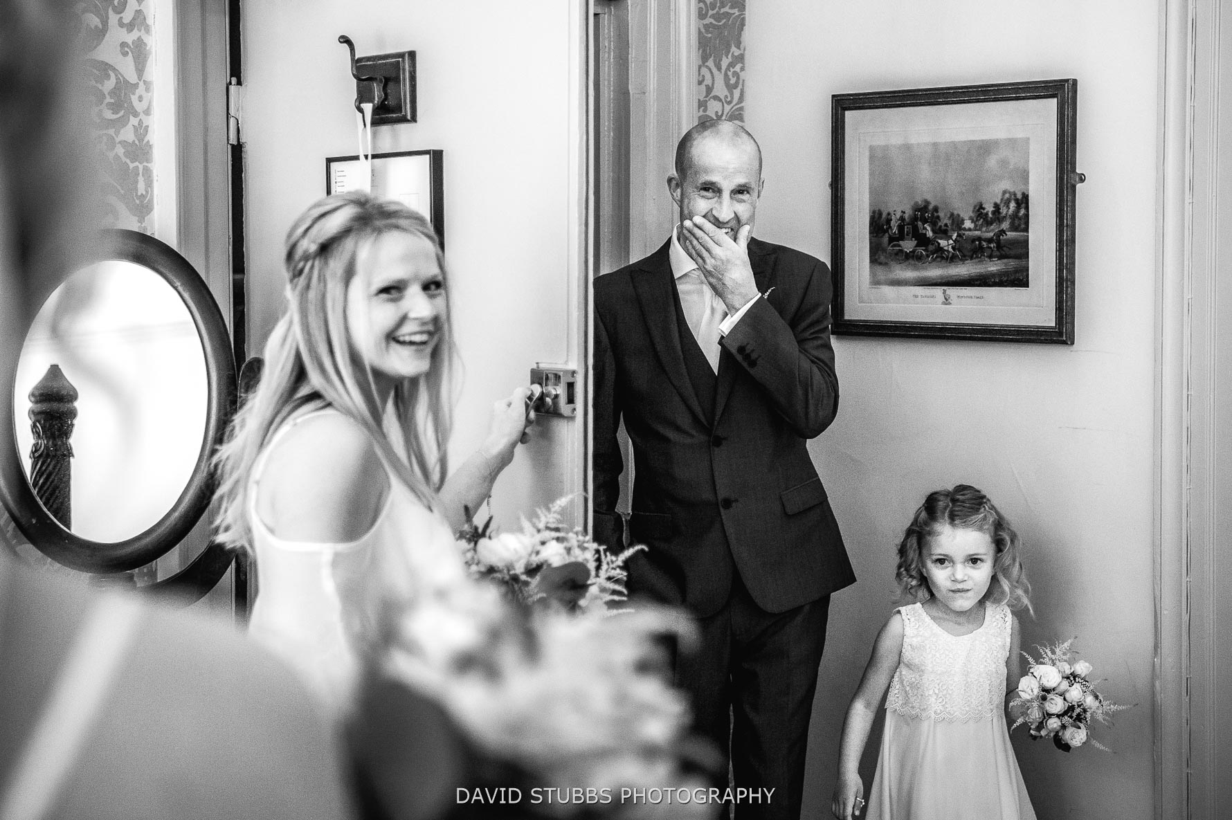 father of bride sees his dughter first look
