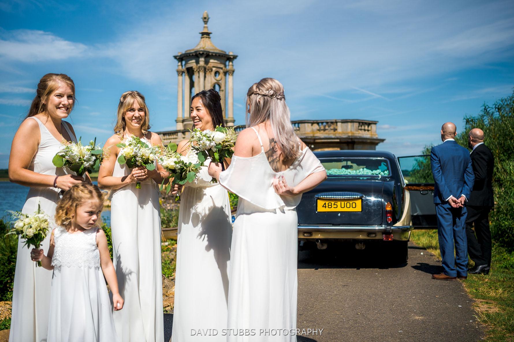bridesmaids stood outside