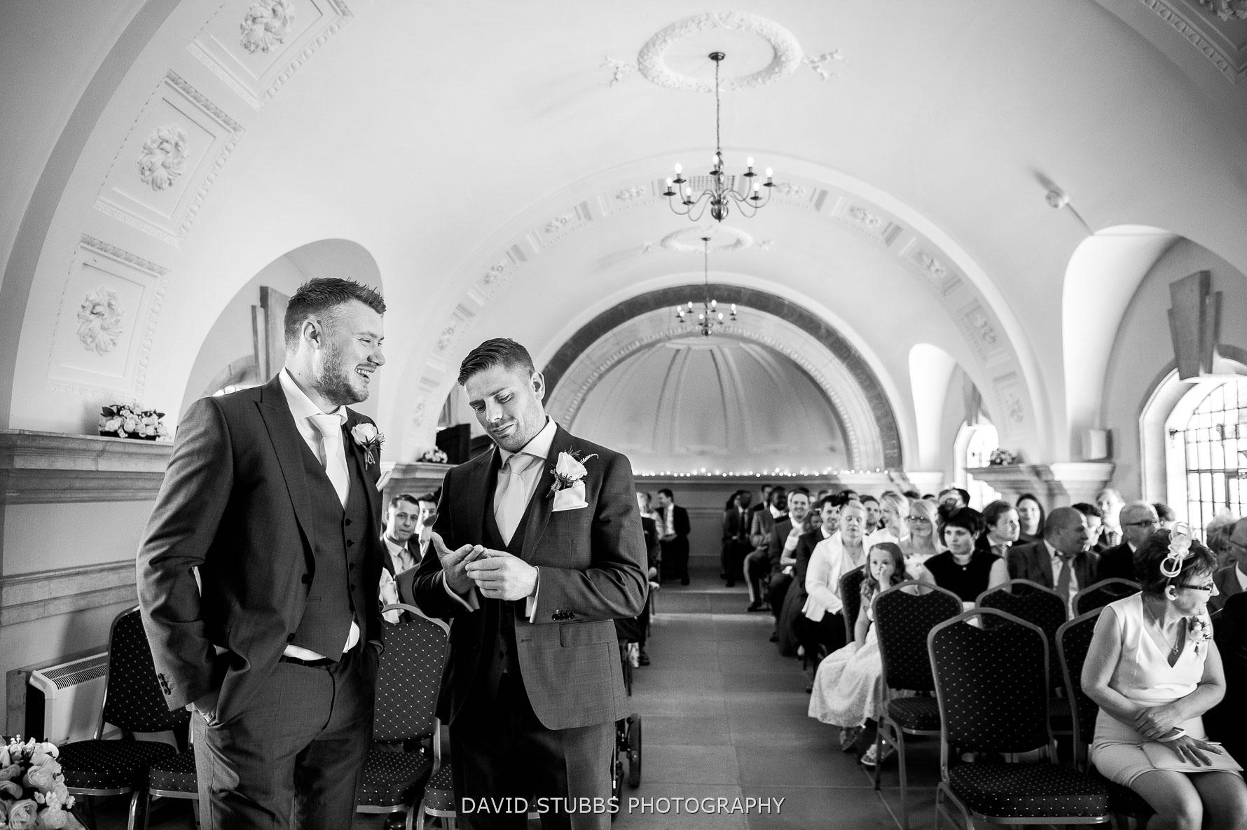 groom wating inside normanton church