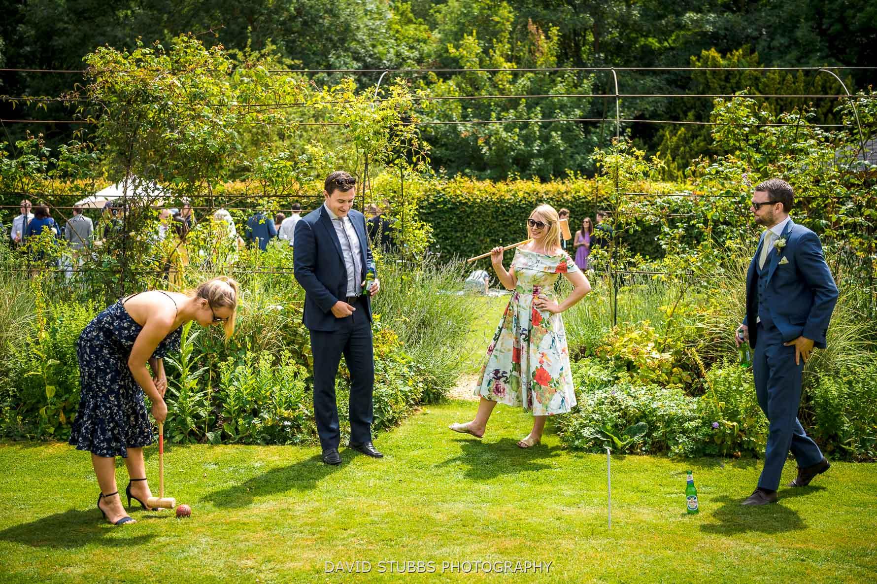 playing lawn games at normanton wedding