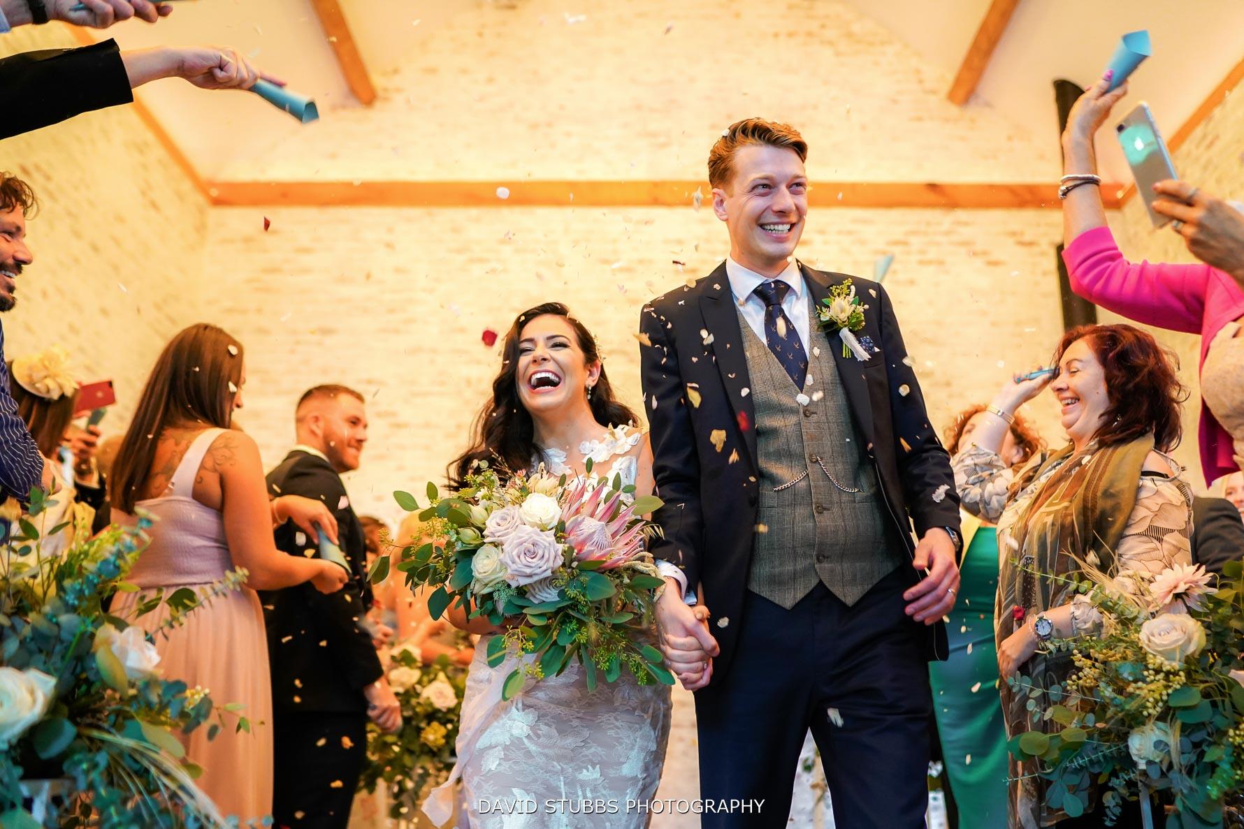 low angle confetti photo at dorfold hall wedding
