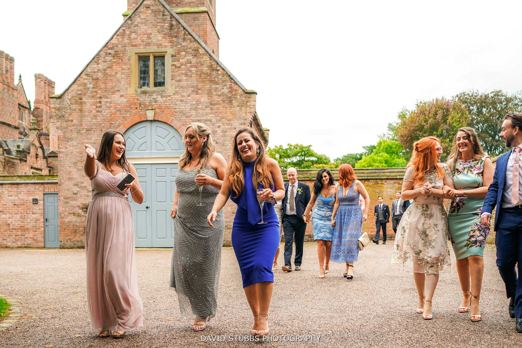 guests walking from barn to hall at dorfold