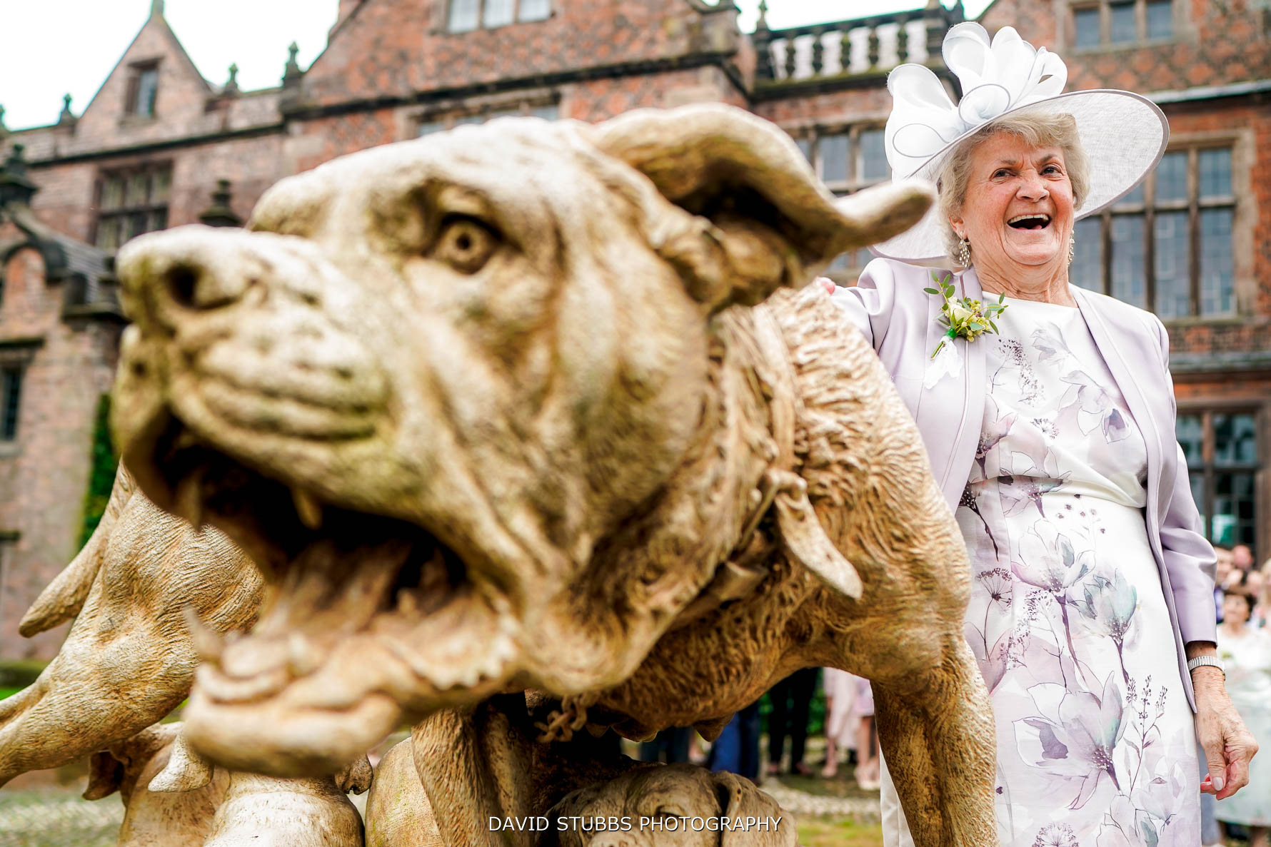 nan with dog statue at dorfold hall