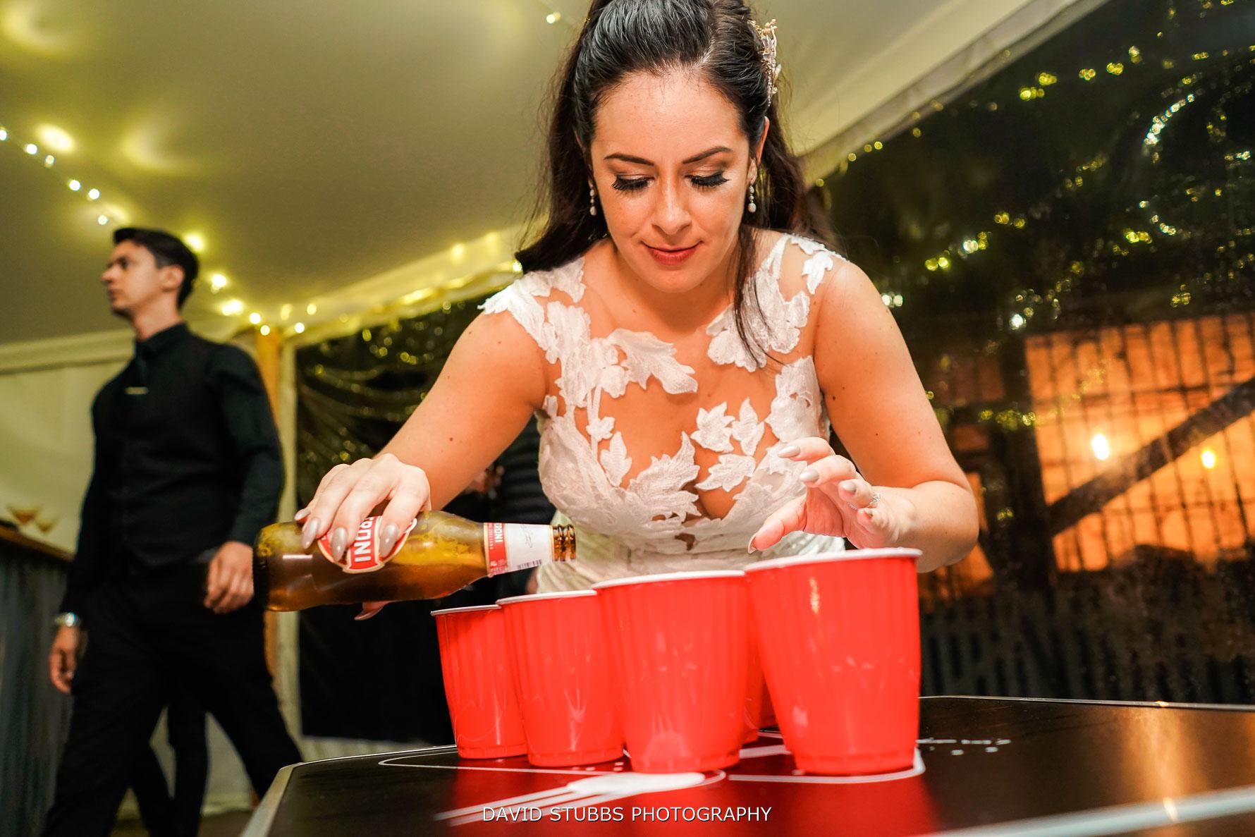 preparing beer pong