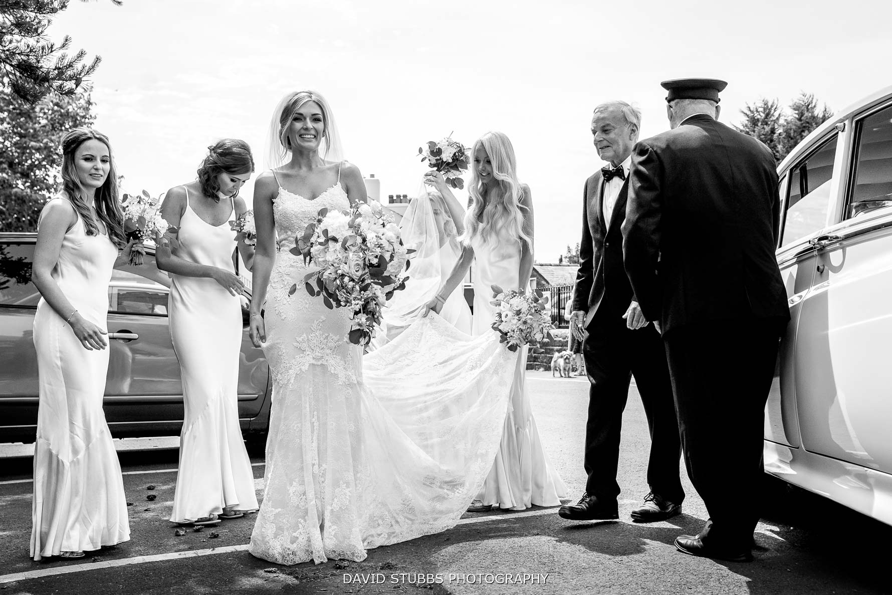 low angle of the wedding party on arrival
