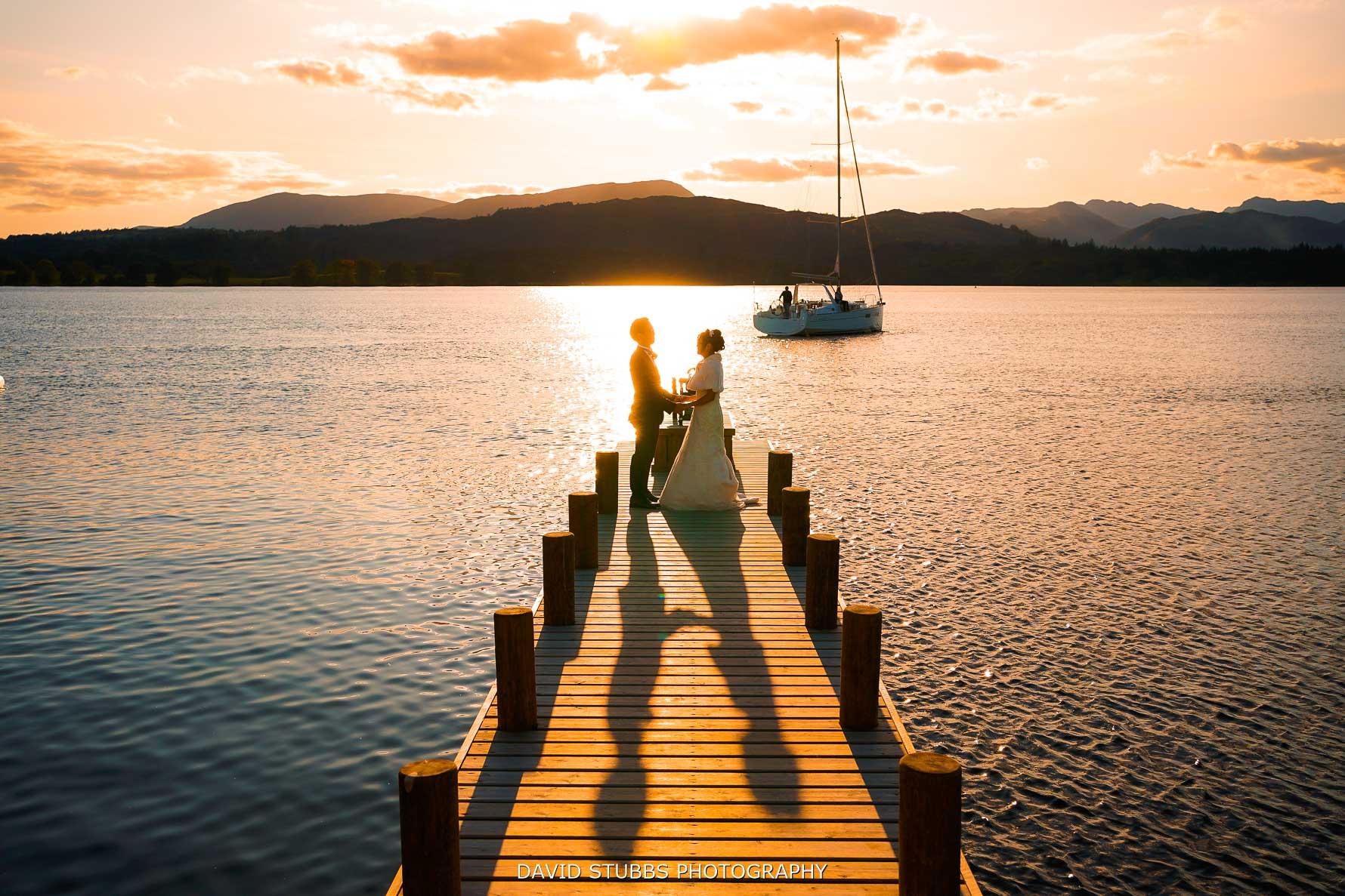 low wood jetty sunset wedding