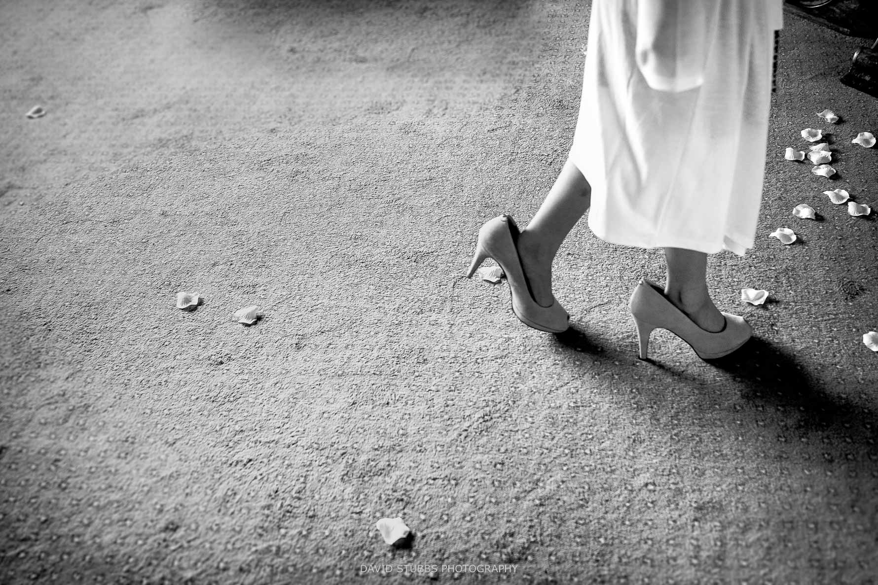 girl wearing the brides shoes