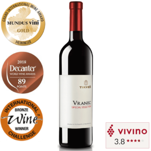 Vivino rated Red wine Tikves Vranec bottle in Singapore award winning red wine