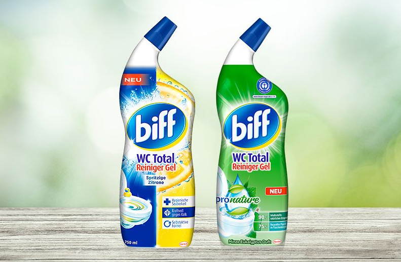 New packaging for toilet cleaners: less plastic and more recycled material