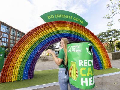 Every Can Counts takes recycled rainbow art installation to Manchester!
