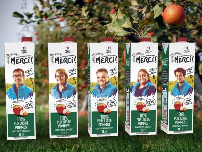 Intermarché choses  SIGNATURE for the launch of its new fair apple juice