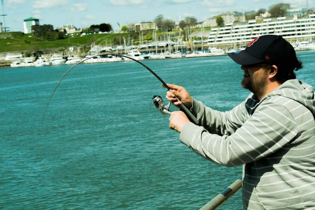 Plymouth local, Ben Grout bent into a decent ballan wrasse on the Pen!