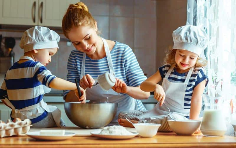 kids participating in making food