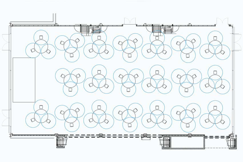 venue social distancing calculations and drawings
